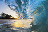 Hawaii  Maui  Makena  Beautiful Blue Ocean Wave Breaking at the Beach at Sunrise