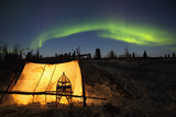 Trappers Tent Lit Up with Aurora Borealis at Wapusk National Park