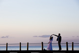 Newlyweds Practice for their First Dance after their Beach Wedding on the Island of Cozumel