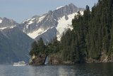 Kenai Fjords Tour Boat in Resurrection Bay Near Seward  Alaska During Summer