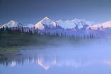 Alaska Range over Wonder Lake in Morning Mist Denali Np in Ak Summer