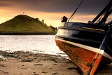 Boat on Beach at Low Tide; Alnmouth  Northumberland  England