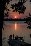 Residents Watch a Late Summer Sunset from their Dock on West Okoboji Lake