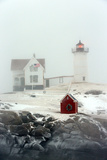 Maine's Nubble Lighthouse Shines on a Cold Winter's Day
