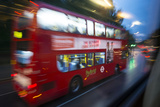In 2013  a Double-Decker City Bus Speeds Through London at Dawn