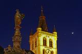 The Moon and Venus in Evening Twilight Near the Spire of Saint Gangolf Church