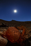 A Moonlit Night over the La Silla Observatory and an Ancient Petroglyph