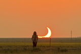 Woman Stands Next to the Annular Solar Eclipse in New Mexico
