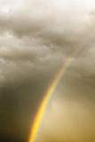 A Vivid Rainbow in a Cloud-Filled Sky