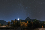 Constellation Orion over Sentinel Dome Planet Jupiter  in Taurus  Higher Above  in Moonlight
