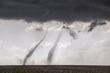 Concurrent Landspout Tornadoes Swirl Side-By-Side across Cropland