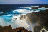 Waves and Rainbow at the Coastal Cliffs of La Palma  Canary Islands