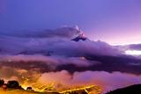 The Tungurahua Volcano Erupting at Night  Endangering the City of Banos