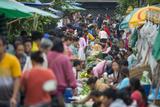 A Bustling Street Market in Prabang