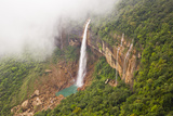 Fog and Low Clouds over the Mountains and Nohkalikai Waterfalls in Cherrapunji