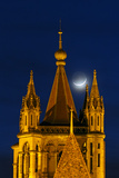 The New Moon Above the Historic Cathedral of Notre Dame  in Lausanne