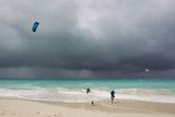 A Kiteboarder Enjoying Gusty Winds Created by Hurricane Tomas