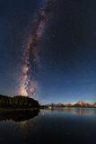 The Night Sky over the Grand Teton National Park and the Jackson Lake Dam