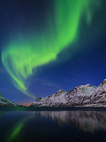View of the Aurora Borealis  Northern Lights  Reflected in a Fjord in Norway