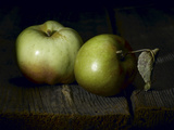 Two Heirloom Apples Shot on Old Barn Wood