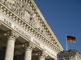 Detail of Bundestag (Reichstag) with German Flag in Front