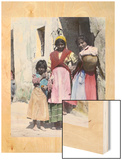 Three Gypsy Girls Stand at the Doorway of a Stone Building