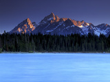 Sunset on the Teton Range  from a Crystal Clear Jackson Lake in Grand Teton National Park
