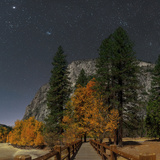 A Moonlit Scenic of a Footbridge on the Merced River  with Planet Jupiter  in Taurus Overhead