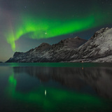 View of the Aurora Borealis  Northern Lights  Reflected in a Fjord