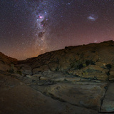 View of the Milky Way Above a Small Canyon in the Atacama Desert