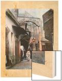 A Hanging Lantern Illuminates an Ancient Stone Passage and a Boy