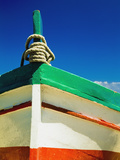 Close Up of Bow of Fishing Boat Painted with Italian Colors