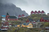 Buildings in Sisimiut Perched on a Barren Greenland Hill