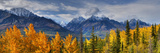 Panoramic View of the Fall Foliage and Snowcapped Chugach Mountains Along the Glenn Highway