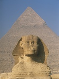 Sphinx in Front of Great Pyramid of Chephren