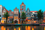 Night City View of Amsterdam Canals and Typical Houses  Holland  Netherlands