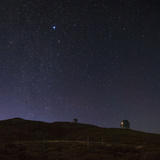 Constellation Canis Minor and Sirius over an Observatory