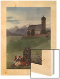 Girls Pose on a Hill in Front of Protestant Mountain Church