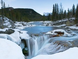 Partially Frozen Waterfall in the Canadian Rockies; Bragg Creek  Alberta  Canada