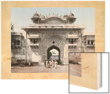 Pedestrians Exit Through One of the Stuccoed Towered Gates of Jaipur