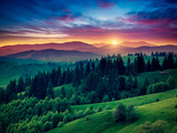 Green Hills Glowing by Warm Sunlight at Twilight Dramatic Scene Colorful Sky  Red Clouds Carpath