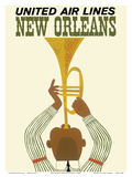 New Orleans - Jazz Trumpet Player - United Air Lines Reproduction d'art