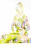 Nature Harmony Healthy Lifestyle Concept - Double Exposure Image of Woman Doing Yoga Lotus Position Papier Photo par F9photos