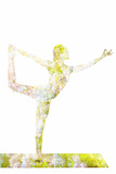 Nature Harmony Healthy Lifestyle Concept - Double Exposure Image of Woman Doing Yoga Asana Lord Of