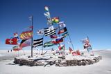 Flags in a Salt Desert of Salar De Uyuni