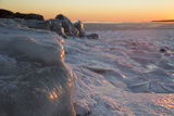 Ice Formations on Salt Water and Ice-Glazed Rocks Along Seashore of Long Island Sound