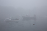 Lobster Boats and in Fog  New Harbor  Maine  USA
