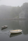 Dinghys and Boathouse in Fog  New Harbor  Maine  USA