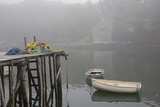 Dock  Lobster Trap Roping  and Boathouse in Fog  New Harbor  Maine  USA