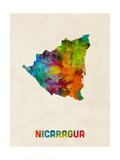 Nicaragua Watercolor Map Reproduction d'art par Michael Tompsett